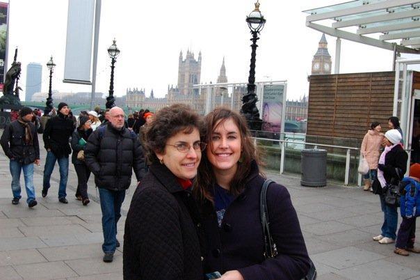 The author and her mom in London with Big Ben in the background.