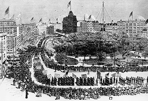 Lithograph of 1882 Labor Day parade in New York City