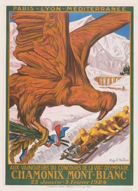 A poster from the first Winter Olympic Games which were held in Chamonix, France, in 1924.