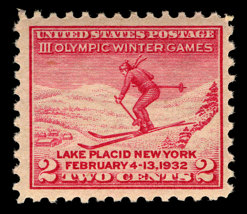 A commemorative stamp for the 1932 Winter Olympic Games held in Lake Placid, New York.