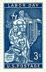 1956 U.S. Postal Service 3 cent stamp honoring Labor Day