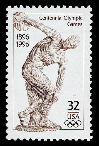 U.S. stamp commemorating the centennial of the Olympic Games.