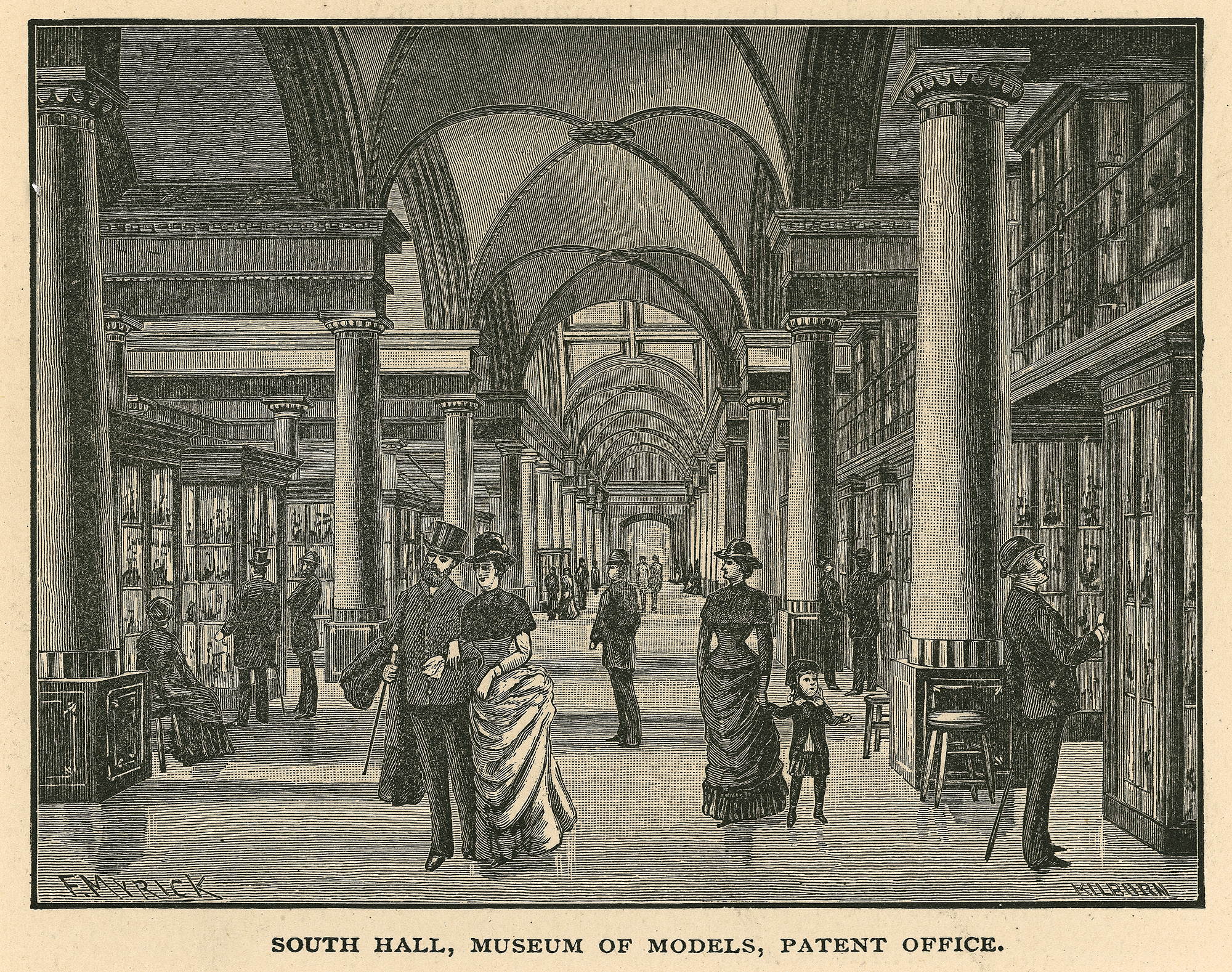 South Hall, Museum of Models, Patent Office. Illustration from Joseph West Moore, Picturesque Washington: Pen and Pencil Sketches, 1887, SI negative 2008-4988.