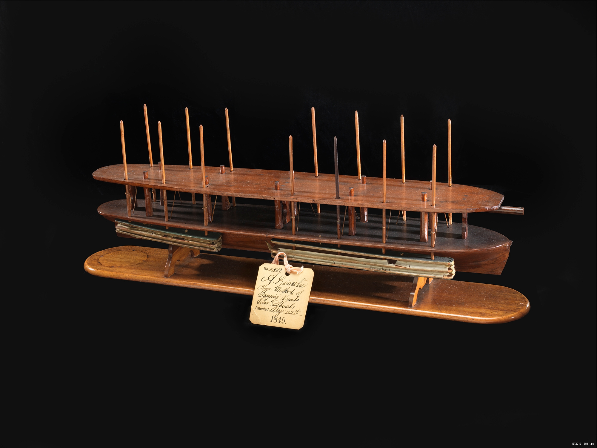 "Lincoln's model for US Patent 6,469, issued 1849, for a device for ""Buoying Vessels Over Shoals."""