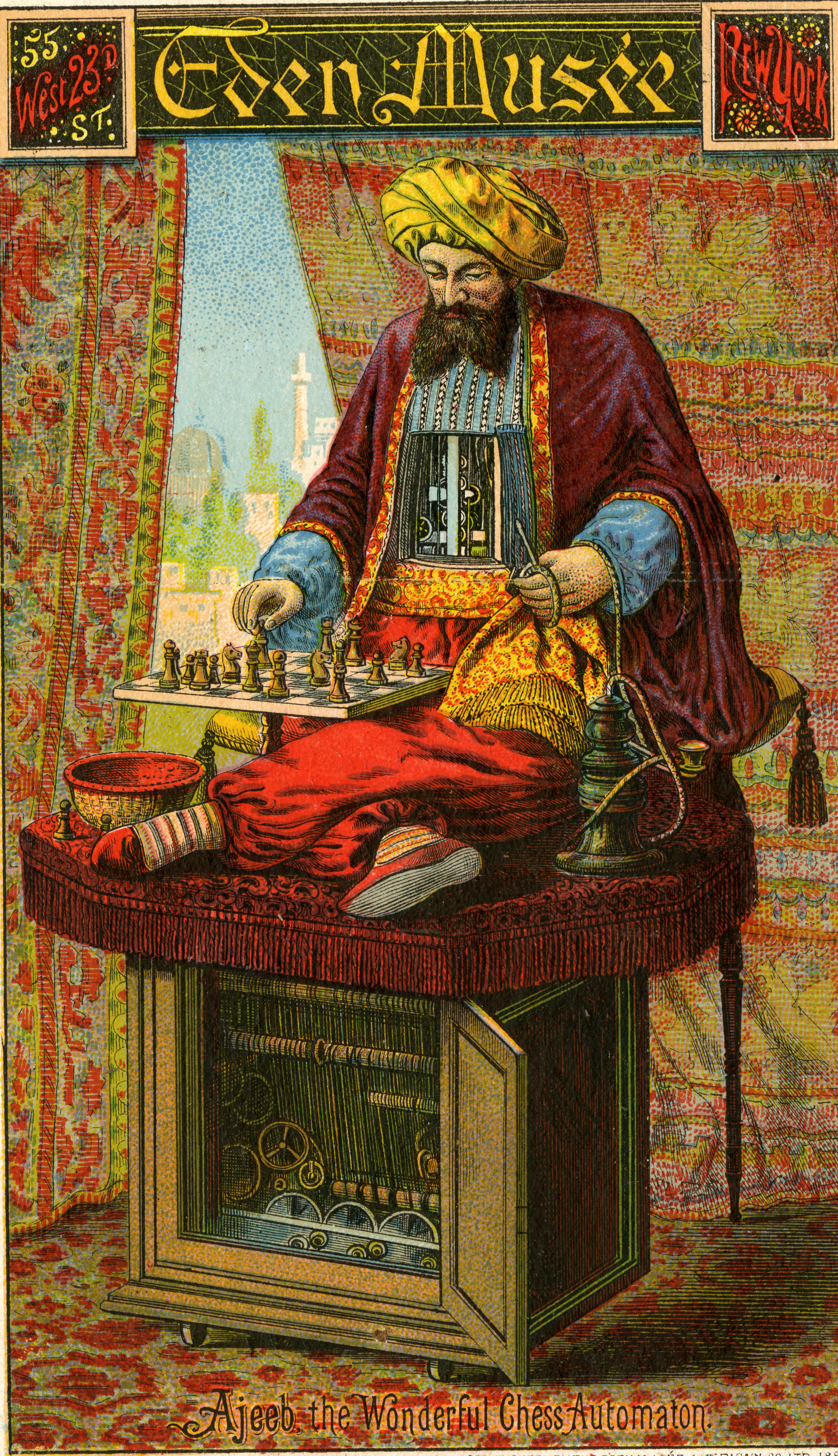 Lithographed trade card from Eden Museé, 1896, depicting Ajeeb the turbaned, chess-playing automaton.