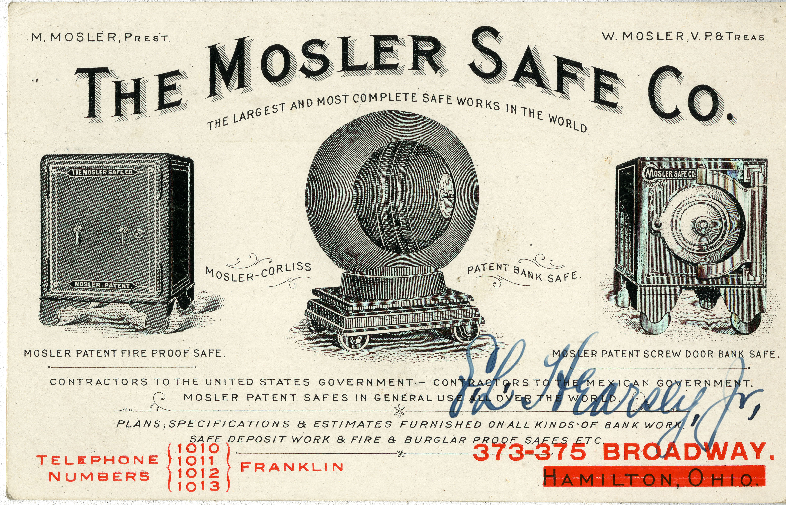 Trade card for Mosler Safe Company, undated.