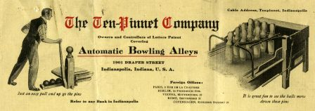 Letterhead of the Ten-Pinnet Company, automatic bowling alleys, 1911.
