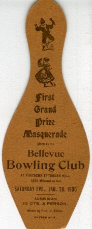 Ticket for Bellevue Bowling Club Masquerade, 1900 January 20