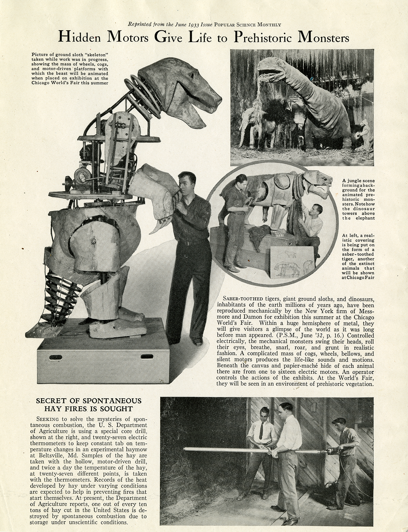 1933 Popular Science Monthly article featuring robotic dinosaurs.