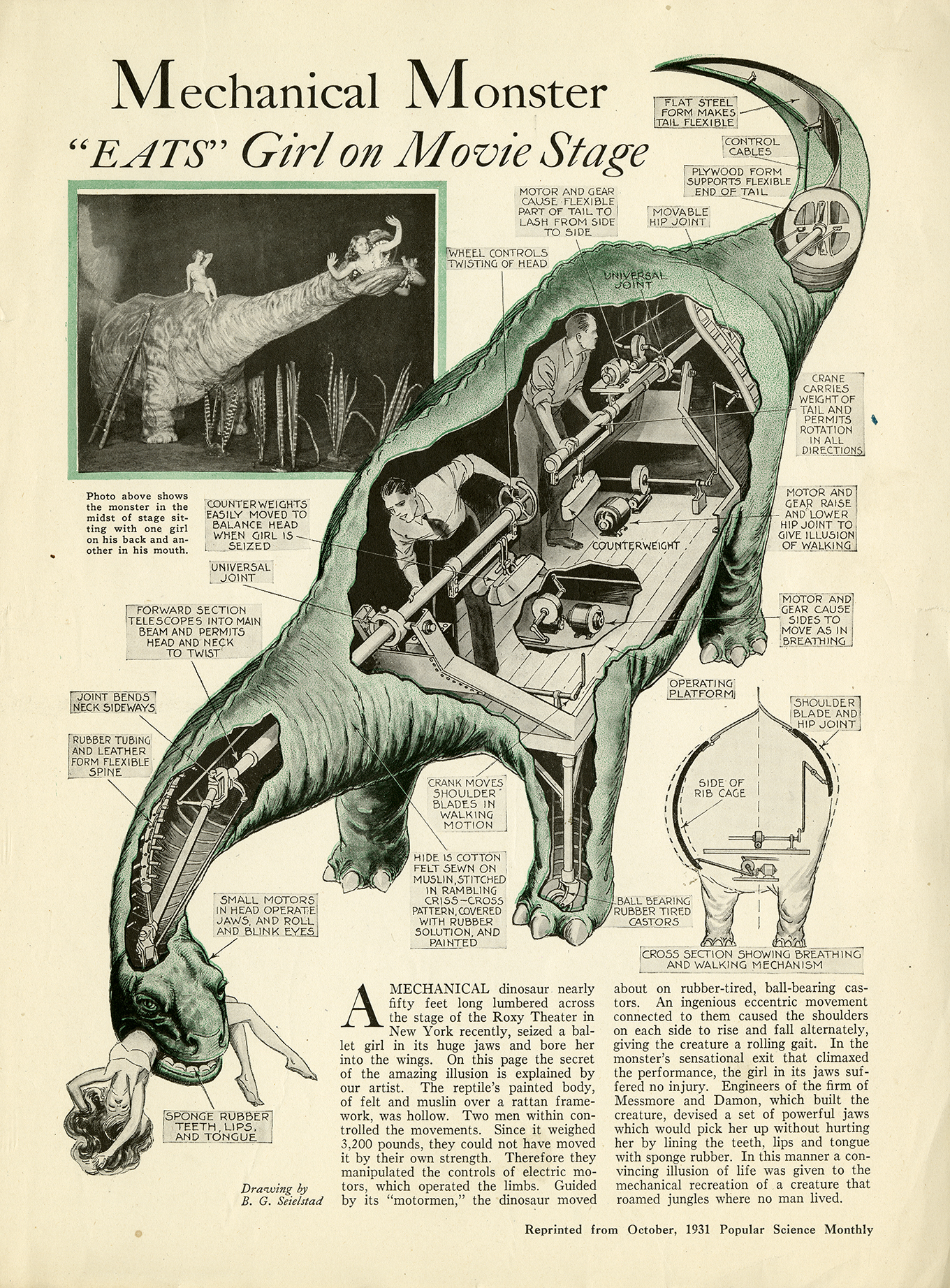 1931 Popular Science Monthly article with the title Mechanical Monster Eats Girl on Movie Stage