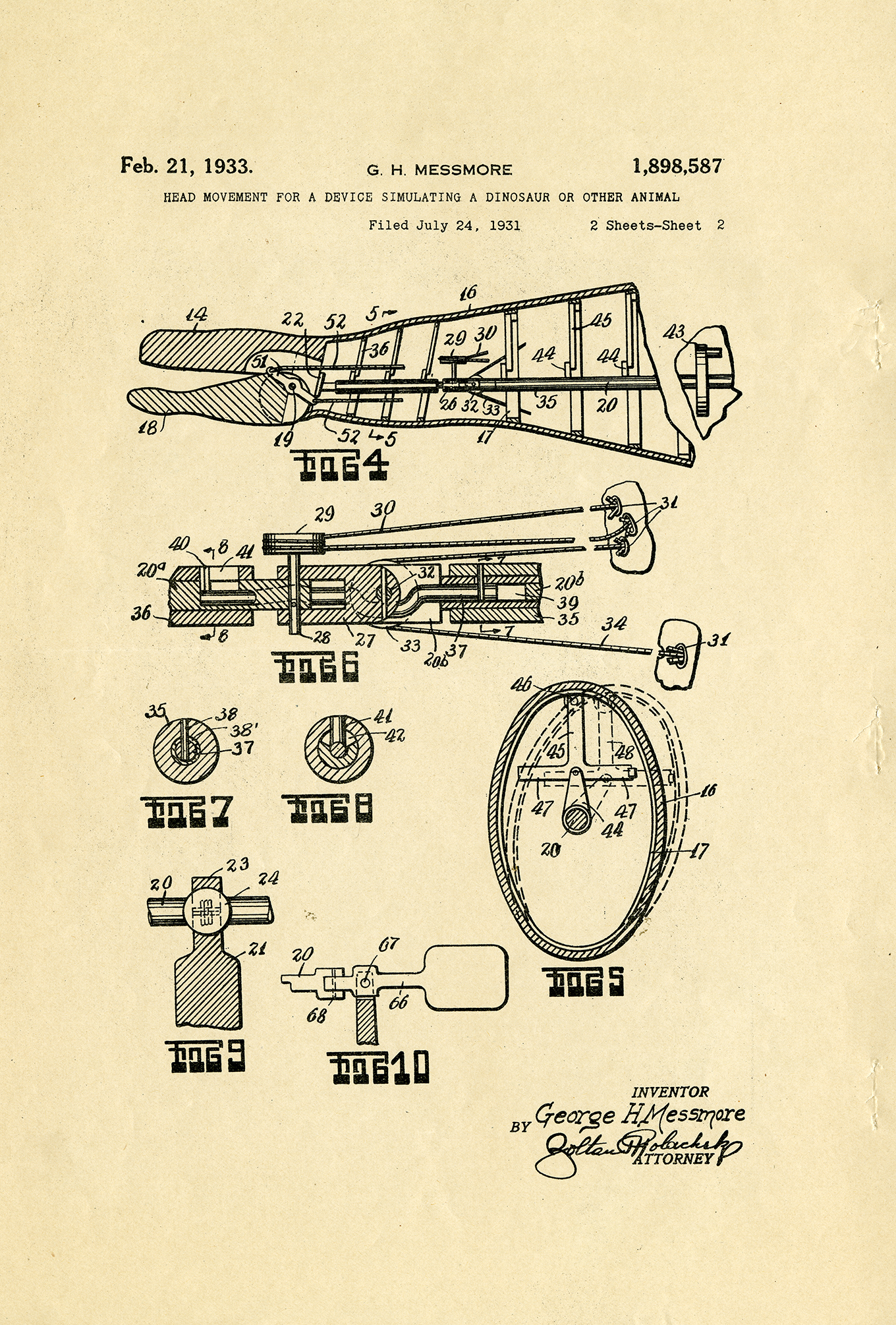 Drawing for US Patent 1,898,587, Head Movement for a Device Simulating a Dinosaur or Other Animal, 21 February 1933