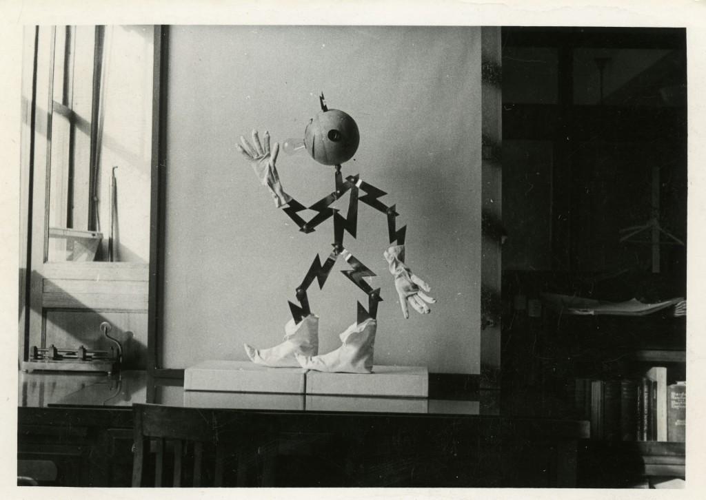 Photograph of Reddy Kilowatt (made of heavy copper), circa 1937.