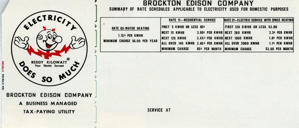Brockton Edison Company electric bill, circa 1956.