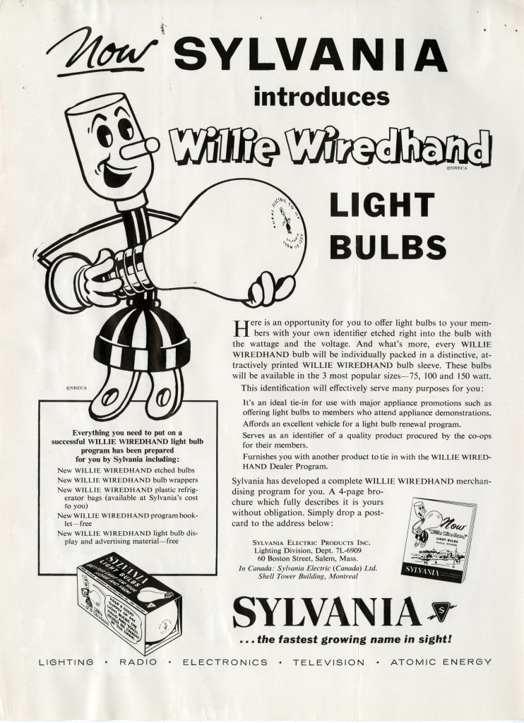 Willie Wiredhand advertisement for Sylvania light bulbs, Rural Electrification Magazine, No. 12, September 1957.