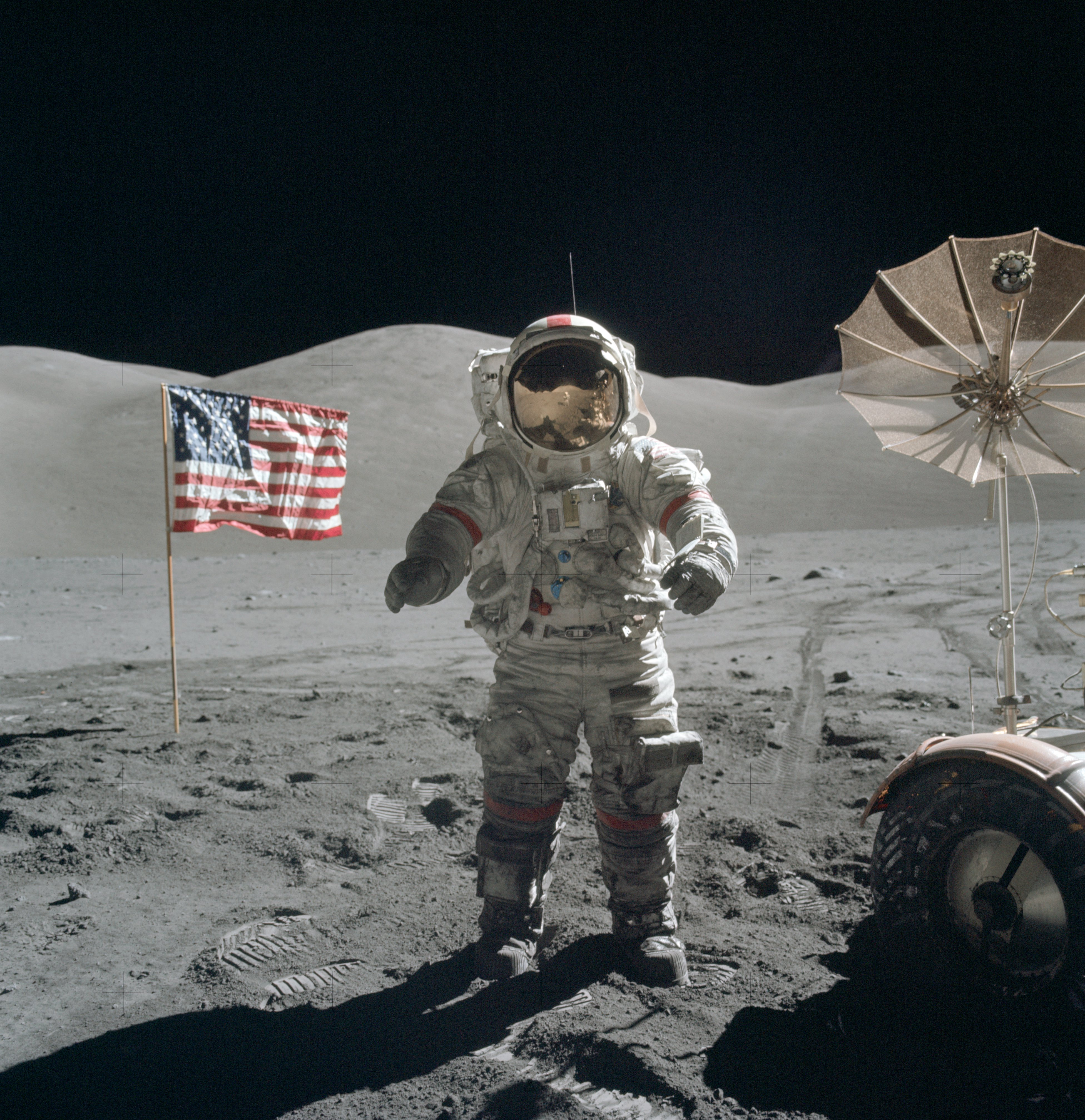 Image of Eugene Cernan on lunar surface, December 13, 1972