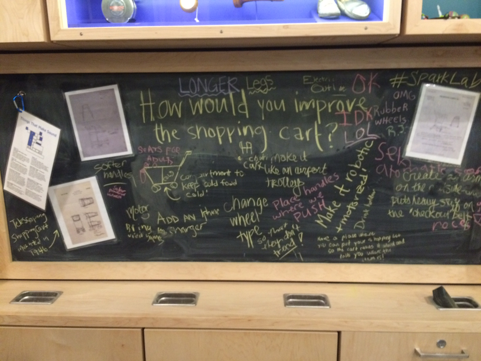Spark!Lab chalkboard full of visitor ideas