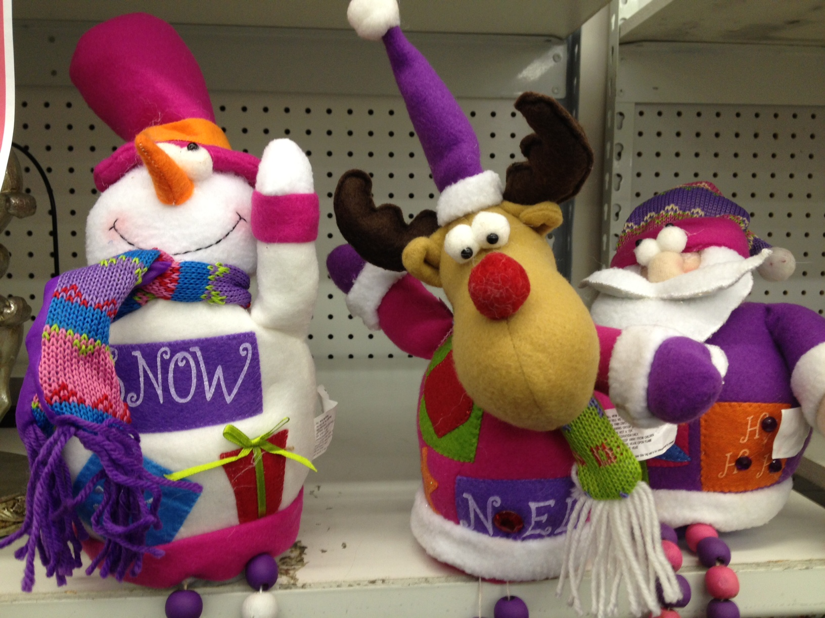 Shelf full of holiday decorations.