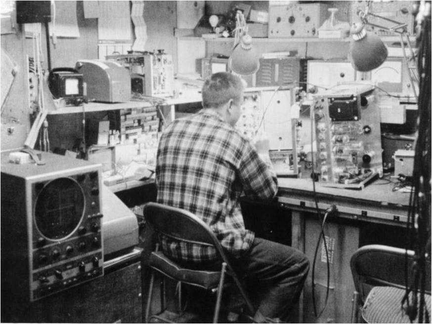 Earl Bakken working inside the Medtronic Garage, c 1955.