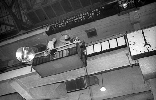 Setting up the strobe (left) and camera (center) at Boston Garden, 1946.