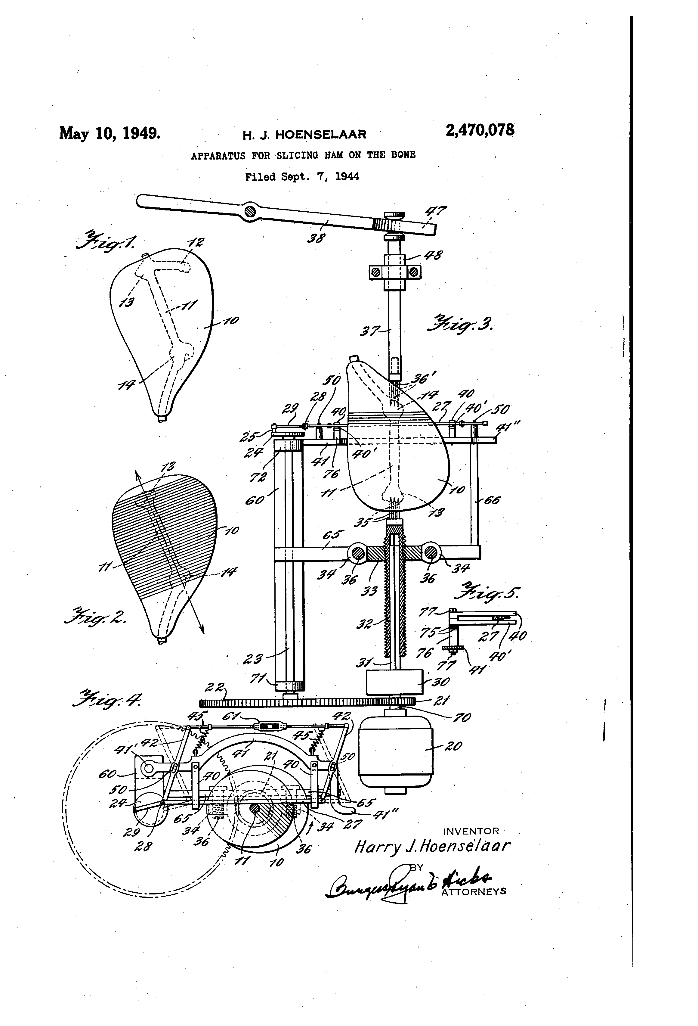"Patent drawing for ""a device to slice ham on the bone"" by Harry Hoenselaar."