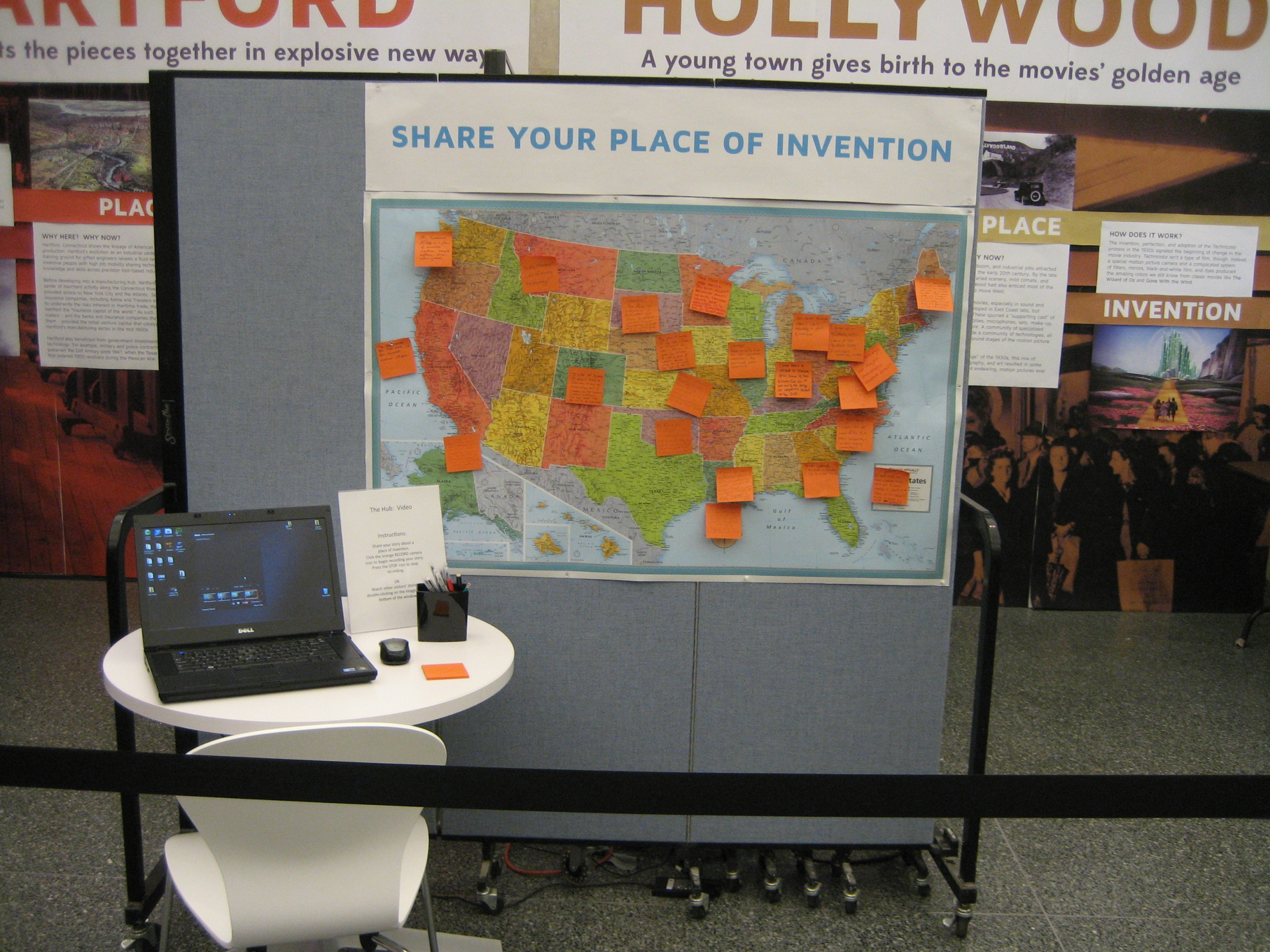 On the interactive map, we asked visitors to leave stories about their places of invention, either through Post-Its or videos.