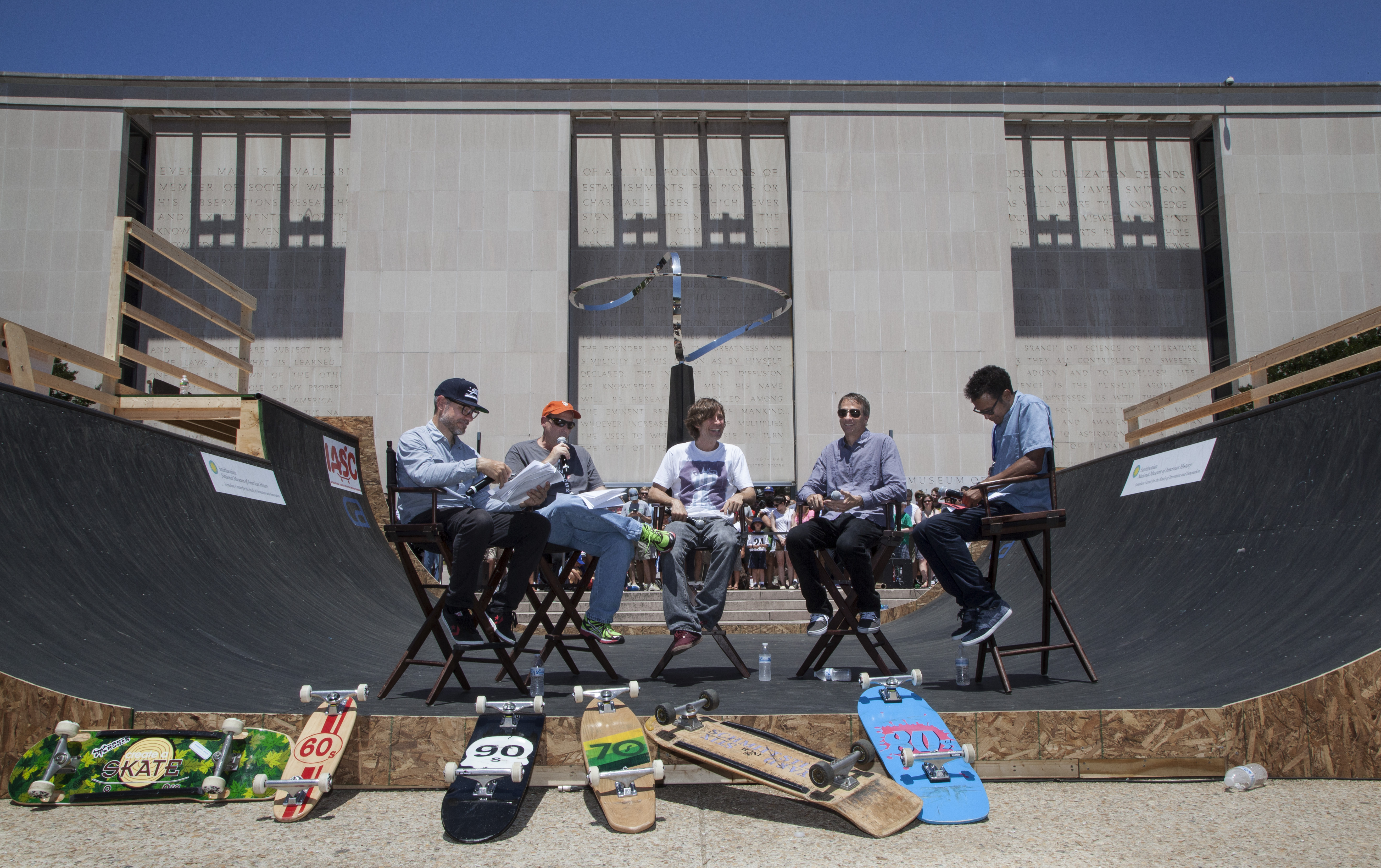 Ryan Clements, Jeffrey Brodie, Rodney Mullen, Tony Hawk, and Chris Pastras at Innoskate.