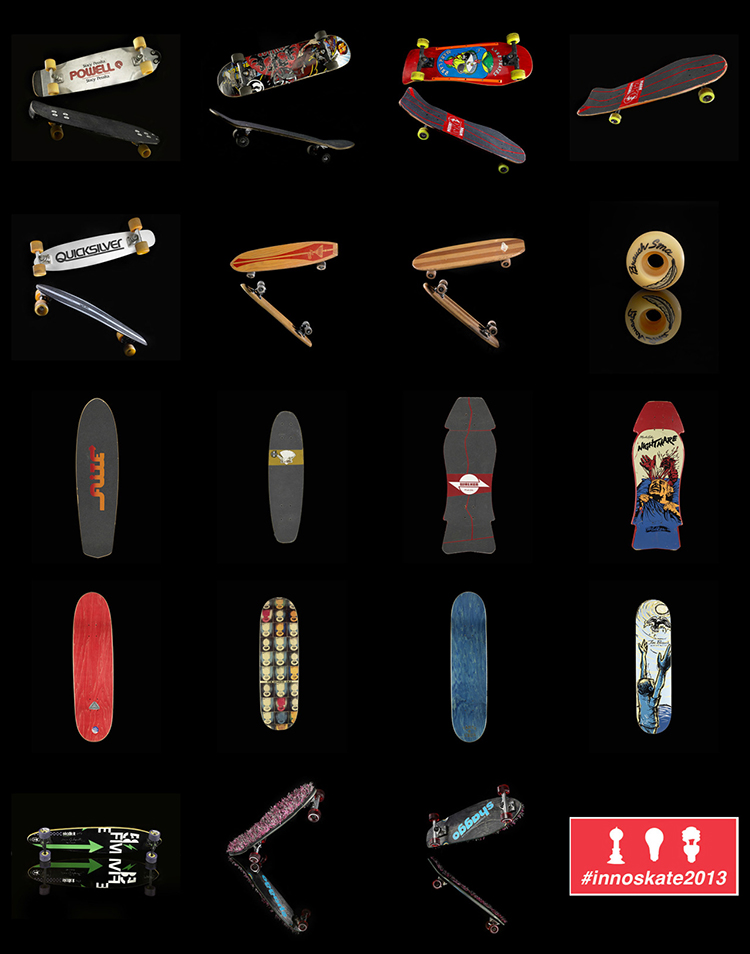 A collection of skateboards in the National Museum of American History.