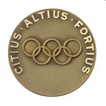 Medal featuring the Olympic rings and motto: Citius, Altius, Fortius