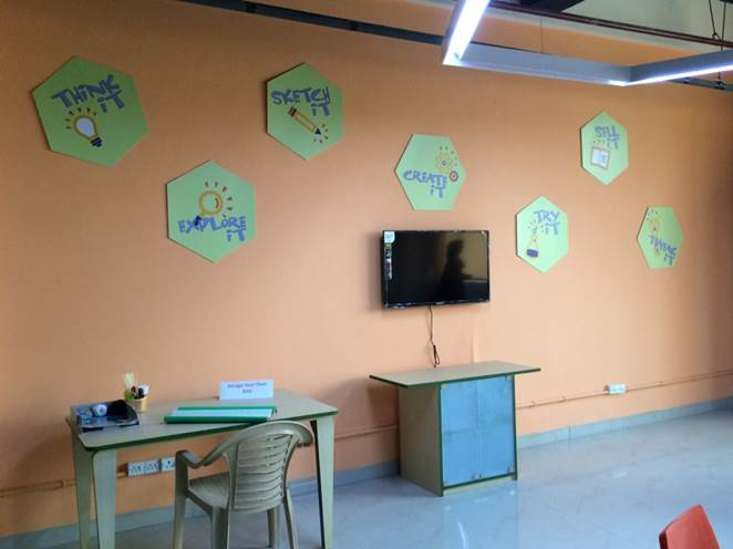 Posters on the wall of Spark!Lab India depict the invention process.