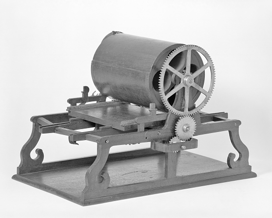 "Richard M. Hoe's patent model for ""flatbed cylinder press,"" 1844."
