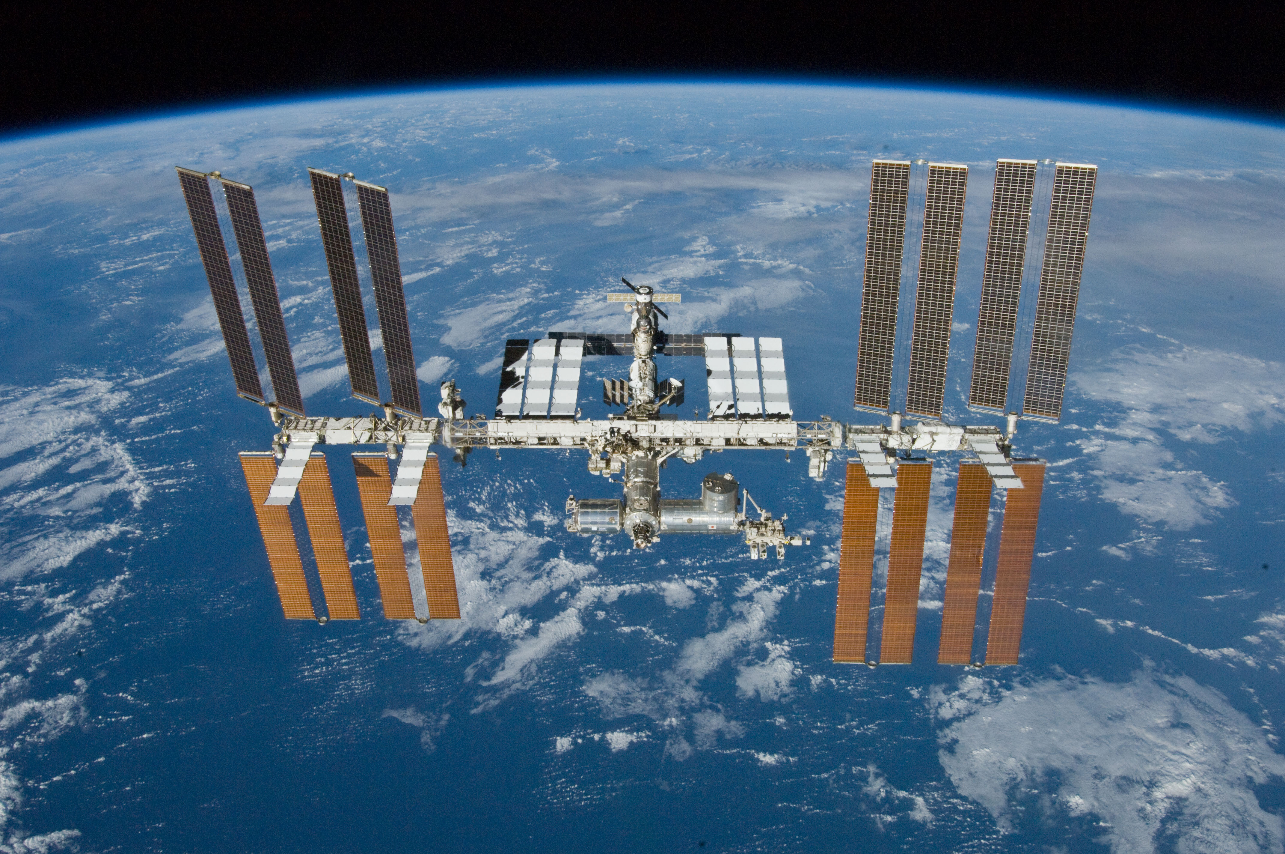 The International Space Station in orbit.