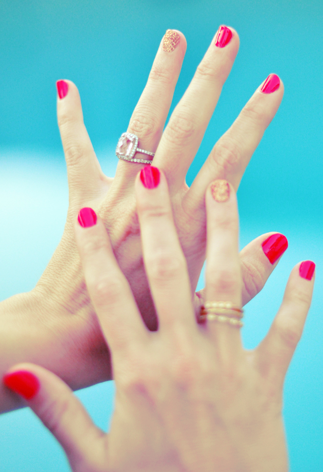 Stock photo of woman's manicured hands.