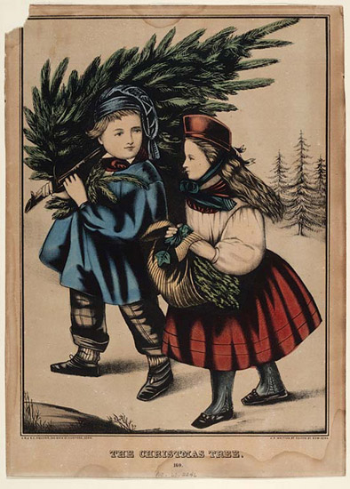 The Christmas Tree, Lithograph ca1860.