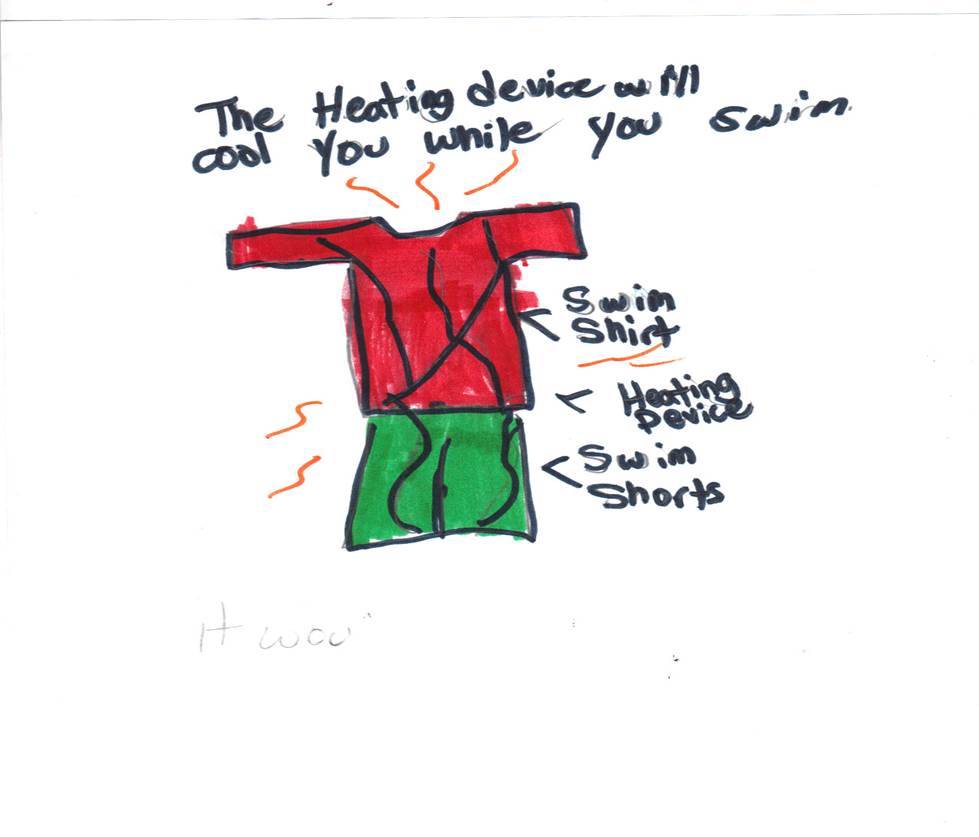 A drawing of The Heating Bathing Suit.