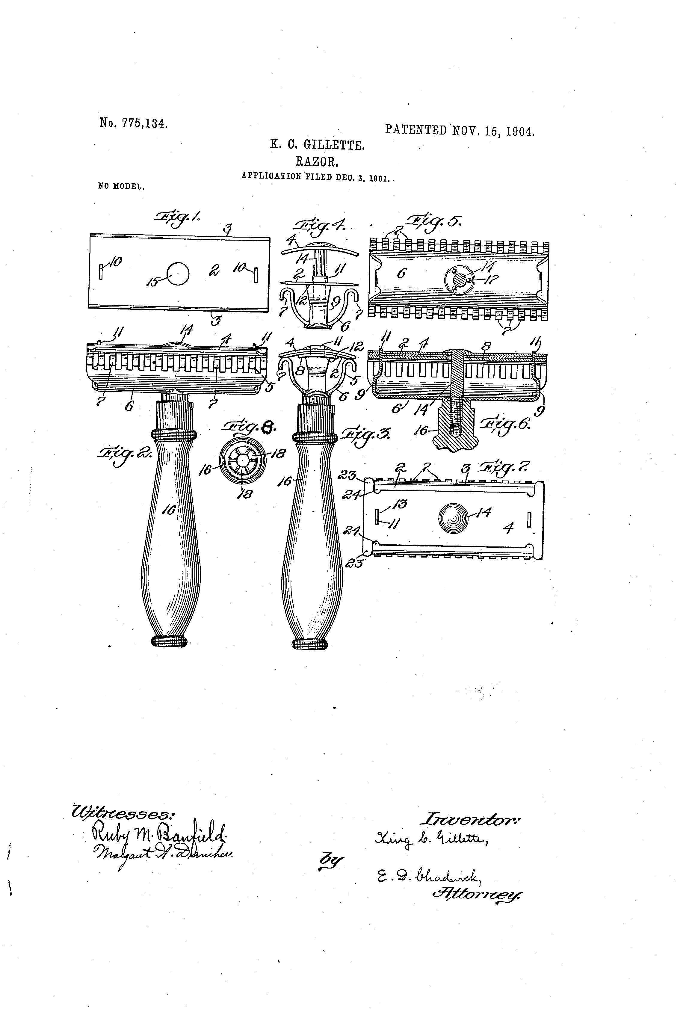 """Patent drawing for """"Razor"""" by Gillette, 1904."""