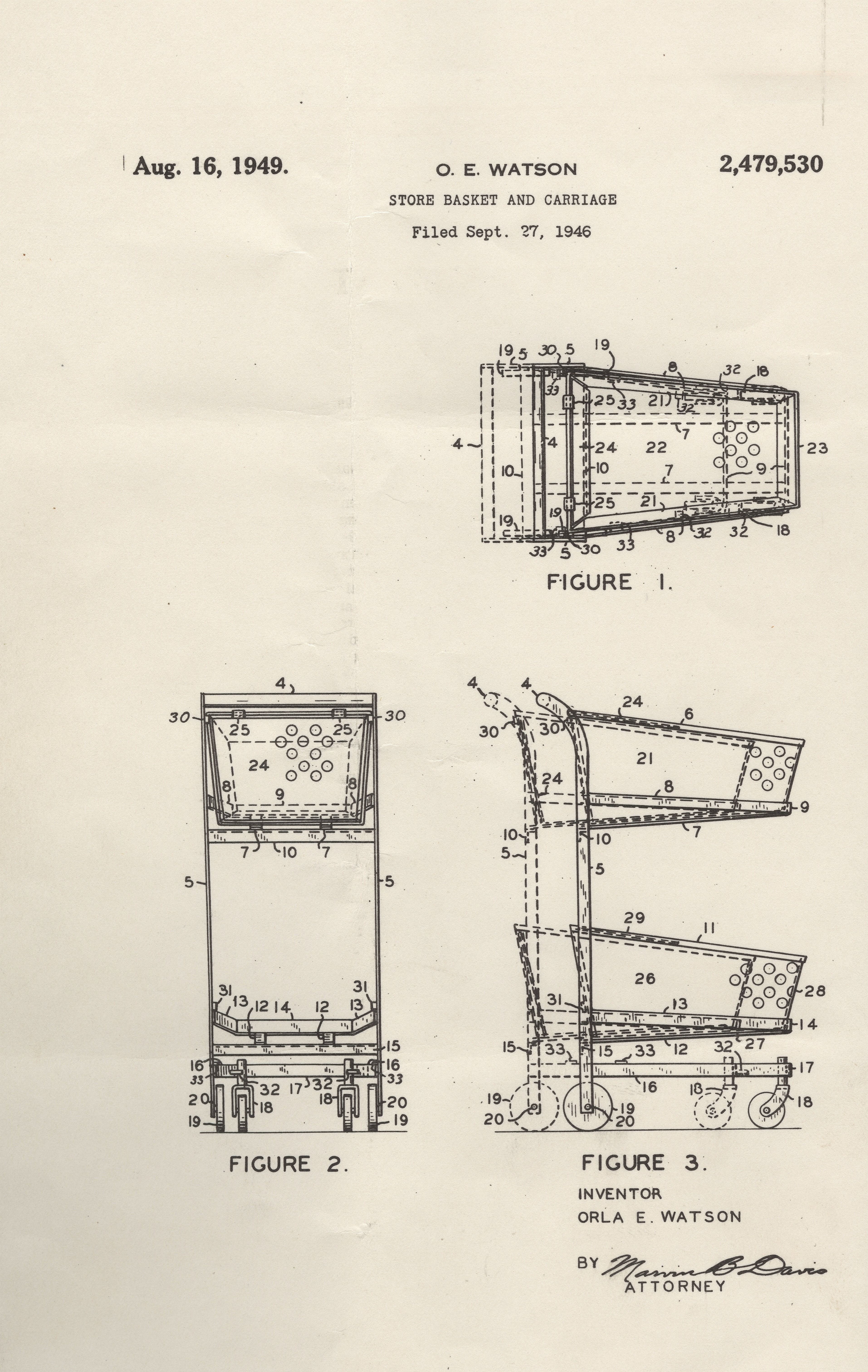 Orla Watson's Patent for the Telescoping Shopping Cart