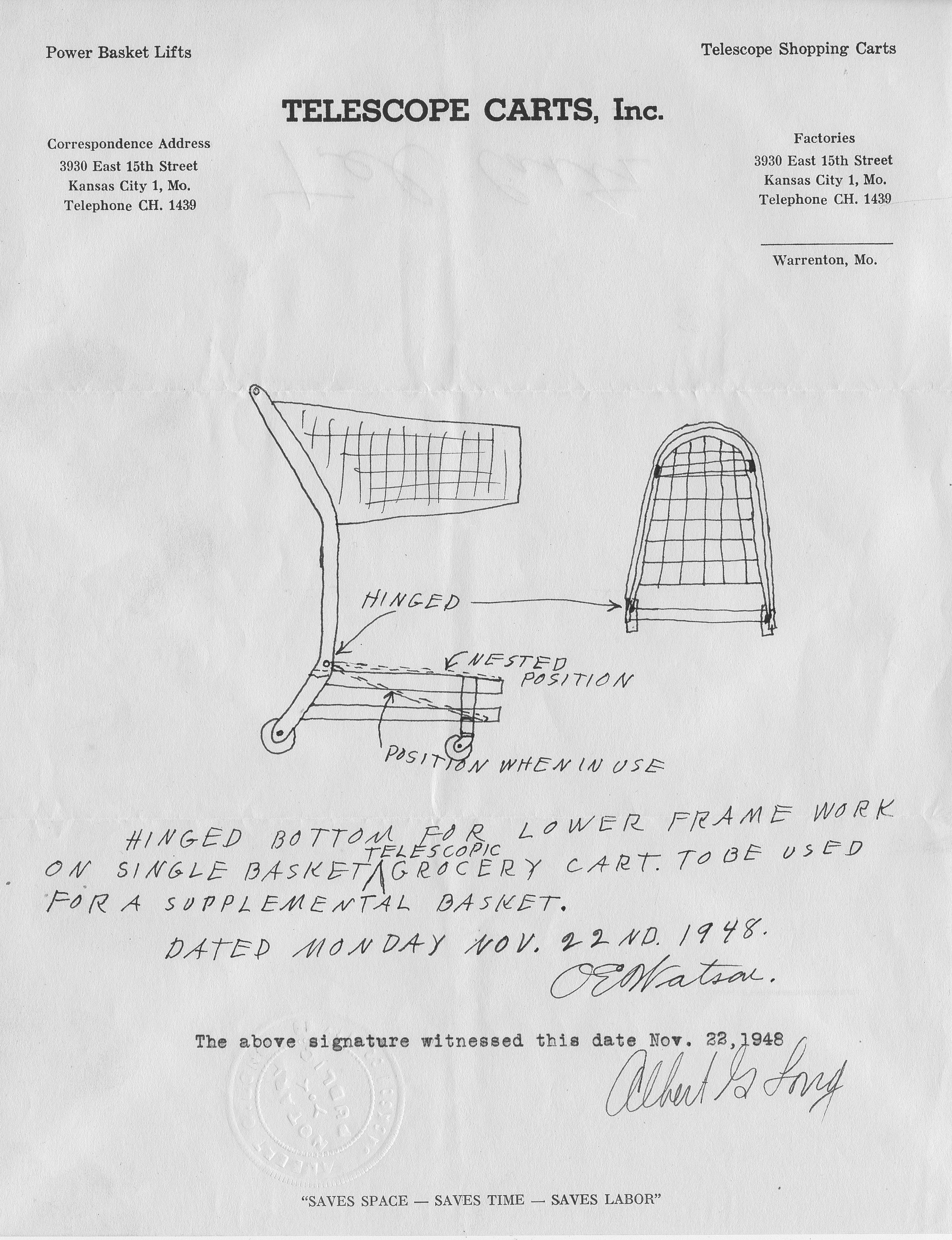 Sketch of telescoping shopping cart