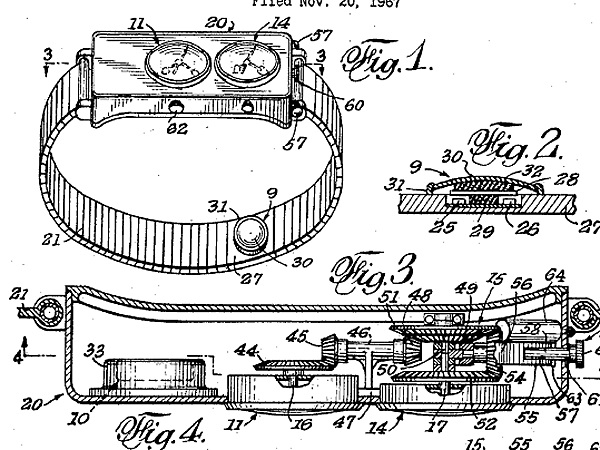 "Patent drawing for a ""method and watch mechanism for actuation by a cardiac pulse"" filed by Zeppo Marx."