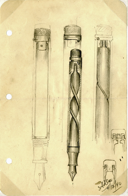 6 sketches of various views of a fountain pen with an ink bladder, with one showing details of the spiral screw-type mechanism inside the pen. At the bottom right of the page is written S Adler 4/12/40.