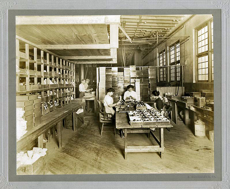 Women workers polishing and packing Celluloid billiard balls