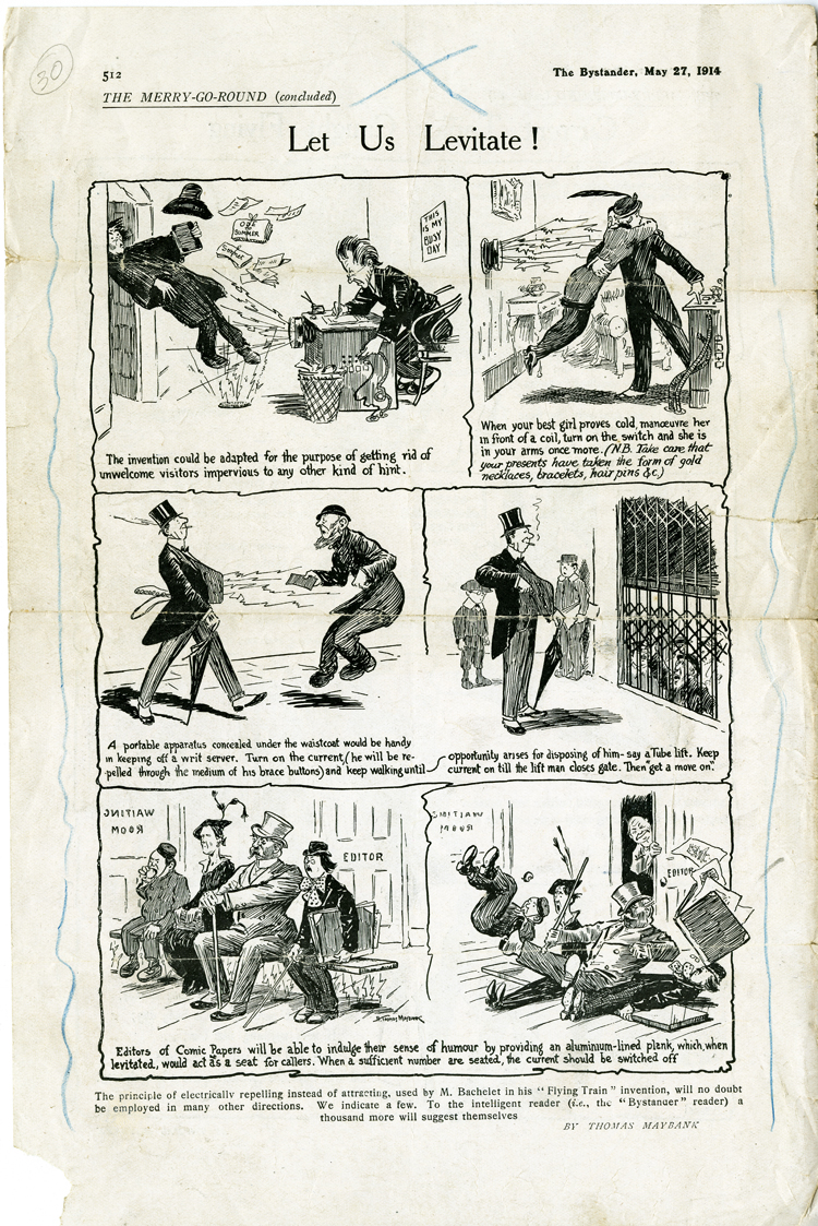 Let Us Levitate! cartoon, with joking suggestions for other uses of electromagnetic levitation, 1914
