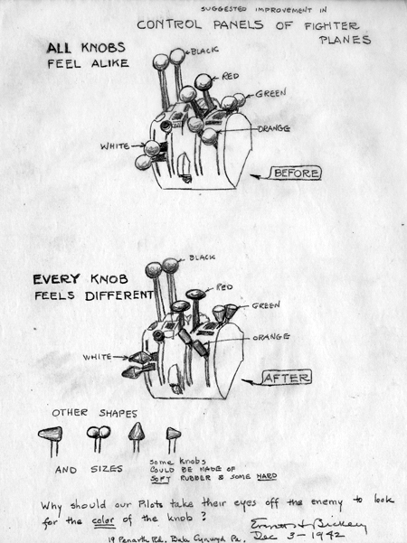 A pencil drawing, dated December 3, 1942, sketched by Everett Bickley, depicts improvements in fighter plane controls by making the knobs on each control stick a different shape and possibly different materials.