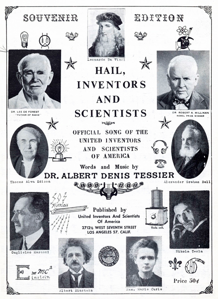 Cover of sheet music for Hail, Inventors and Scientists, 1963, including images in ovals of inventors and scientists (clockwise from top) Leonardo da Vinci, Robert Millikan, Alexander Graham Bell, Nikola Tesla, Marie Curie, Albert Einstein, Guglielmo Marc