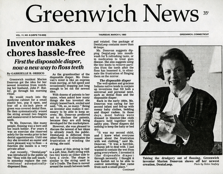 """A reprint of a newspaper article about Marion O'Brien Donovan's inventive career. The headline reads, """"Inventor Makes Chores Hassle-Free,"""" with the subhead, """"First the disposable diaper, now a new way to floss teeth."""" Note: Donovan did not invent the disposable diaper; she invented a waterproof reusable diaper cover, which she called The Boater."""