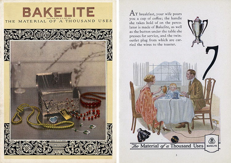Composite image of (left) catalog cover with multiple pieces of Bakelite jewelry and (right) a couple having breakfast, using Bakelite appliances