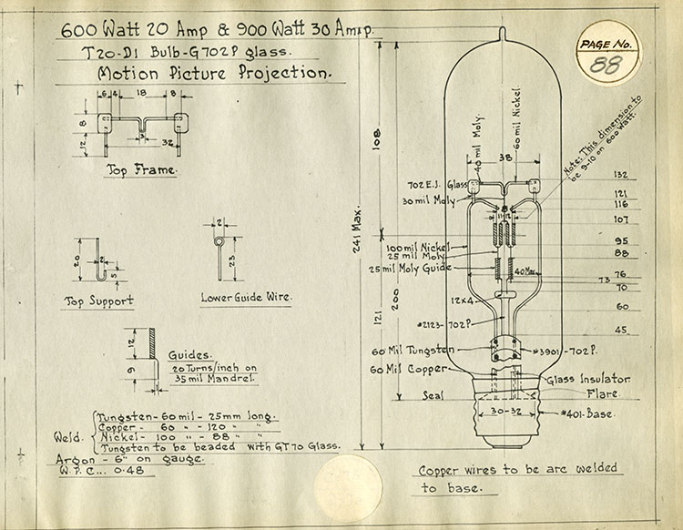 Engineering drawing of a movie projector bulb
