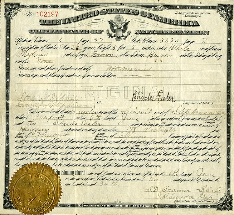 Eisler's naturalization certificate