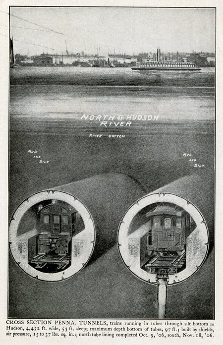 Engraving showing a cross section of the two tunnels under the Hudson River