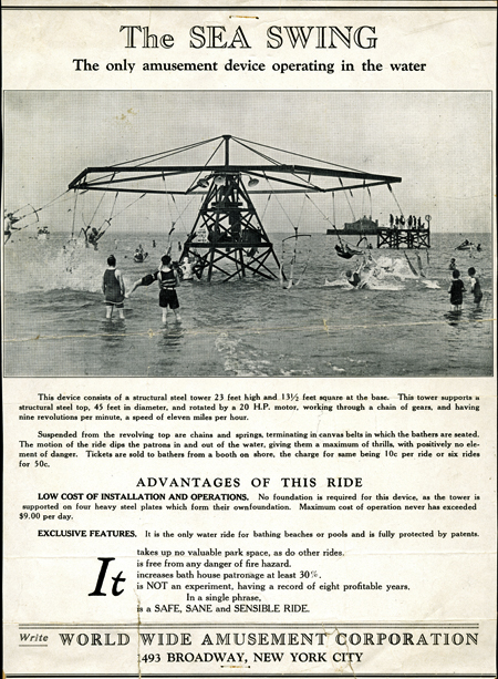 "Printed brochure for ""The Sea Swing—The Only Amusement Device Operating in the Water."" Includes a photo of people riding the swing."