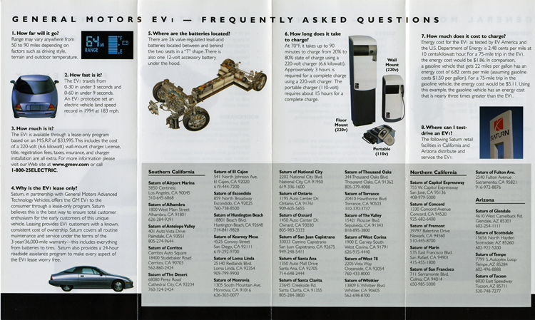 Folded brochure for General Motors EV1 electric car frequently asked questions, 1998